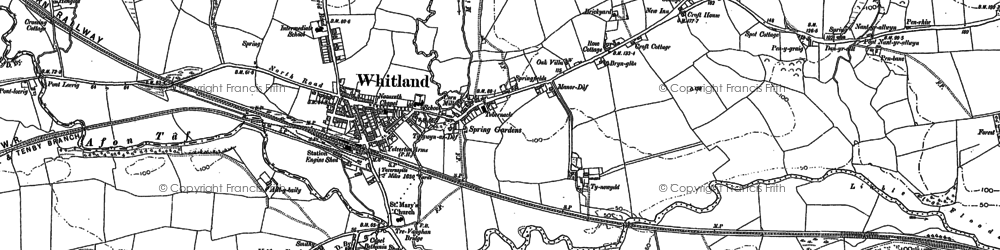 Old map of Whitland in 1905