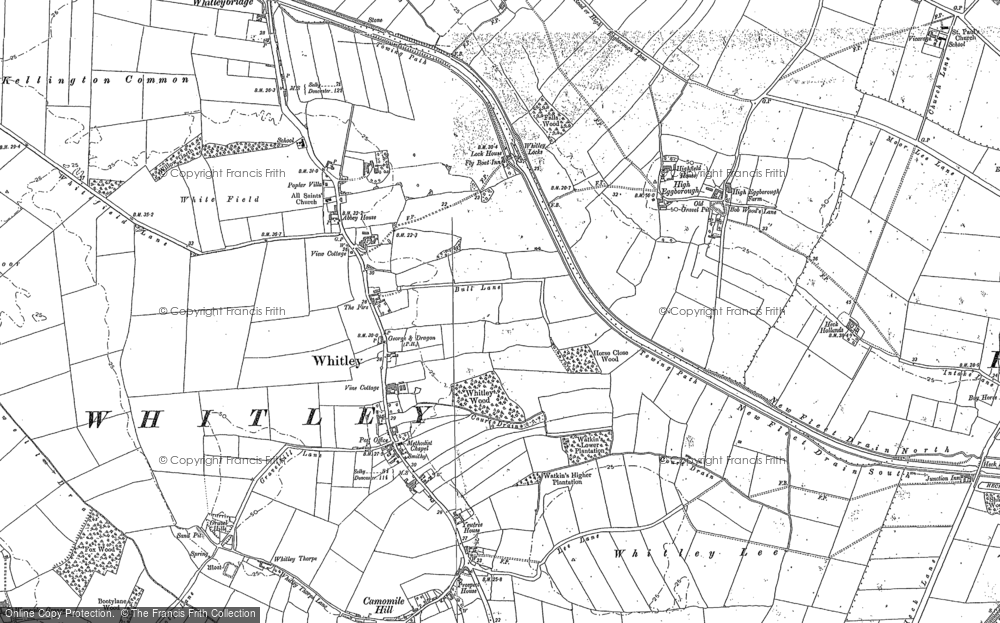 Old Map of Historic Map covering Balne Moor Cross Roads in 1888