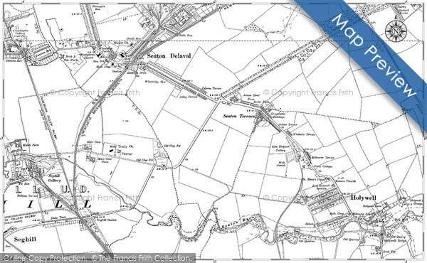 Old Map of Historic Map covering Whitley Sands in 1896