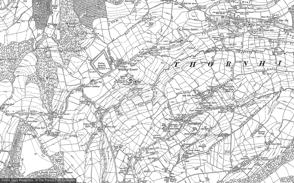 Old Map of Whitley Lower, 1888 - 1892 in 1888