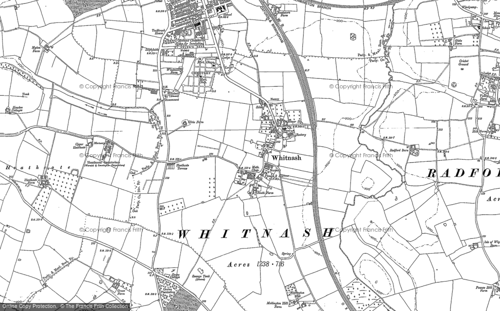 Old Map of Whitnash, 1885 - 1886 in 1885