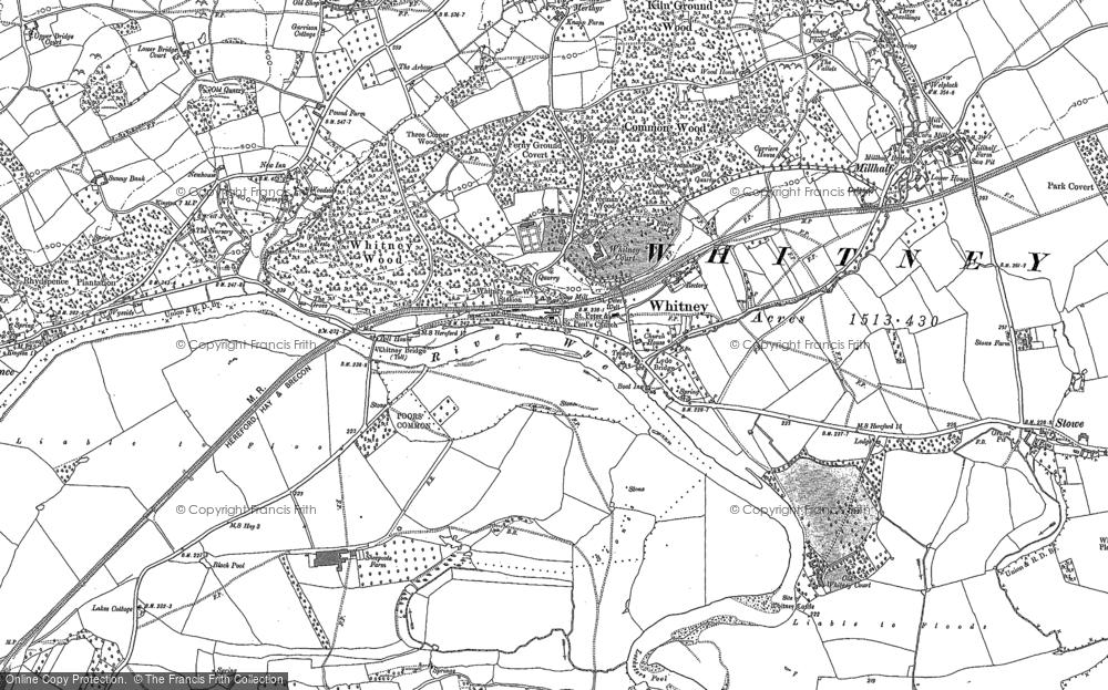 Map of Whitney-on-Wye, 1886