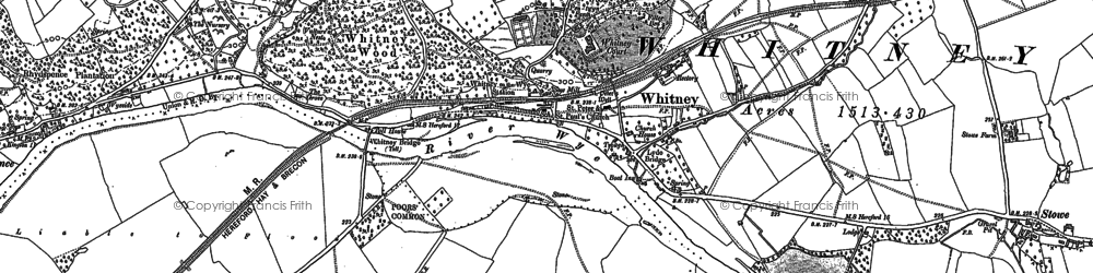 Old map of Whitney-on-Wye in 1886