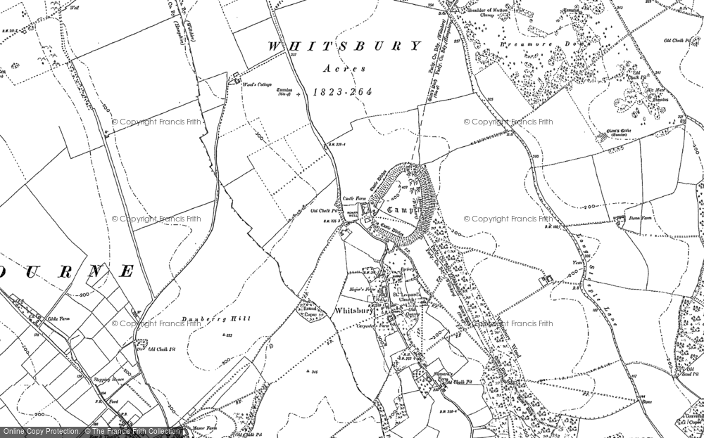 Old Map of Historic Map covering Whitsbury Down in 1895