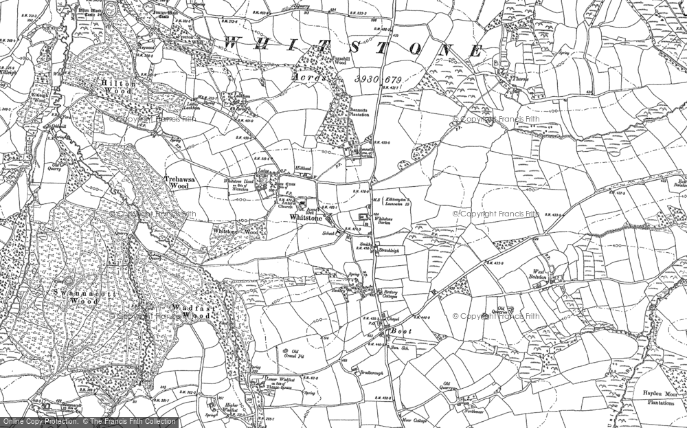 Old Map of Whitstone, 1905 in 1905