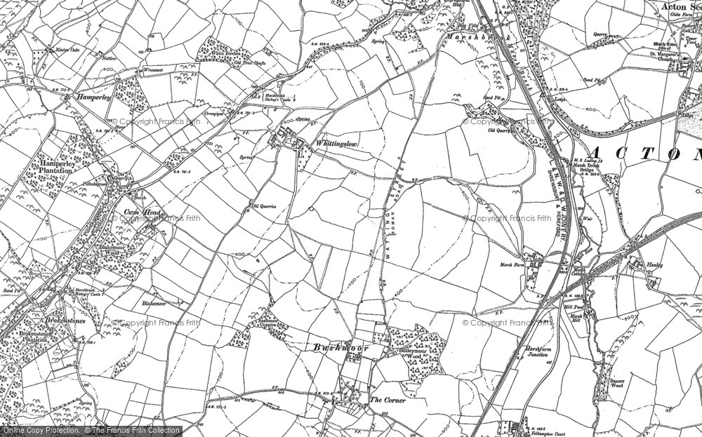 Old Map of Whittingslow, 1883 in 1883