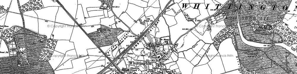Old map of Whittington in 1874