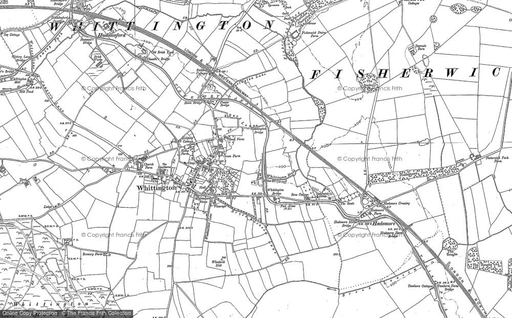Old Map of Whittington, 1882 - 1900 in 1882