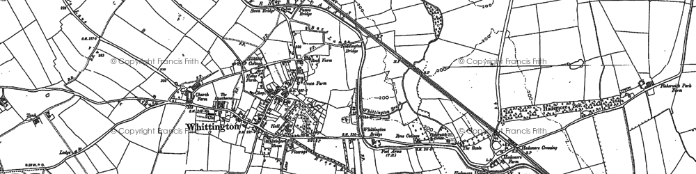 Old map of Whittington in 1882