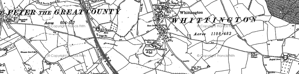 Old map of Whittington in 1884