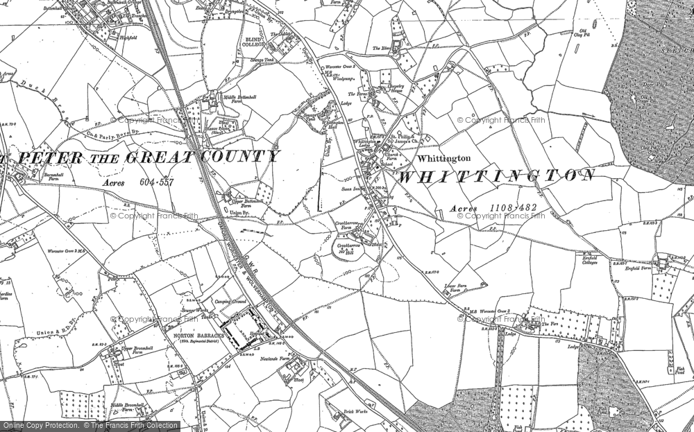 Old Map of Historic Map covering Worcestershire in 1884