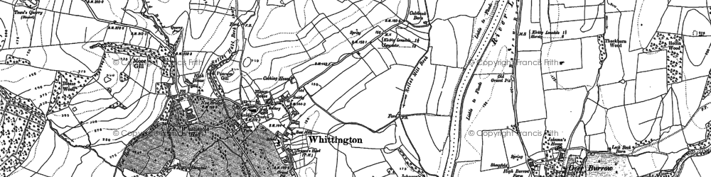 Old map of Whittington in 1910