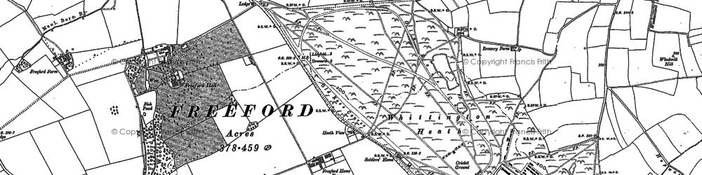 Old map of Whittington Heath in 1883
