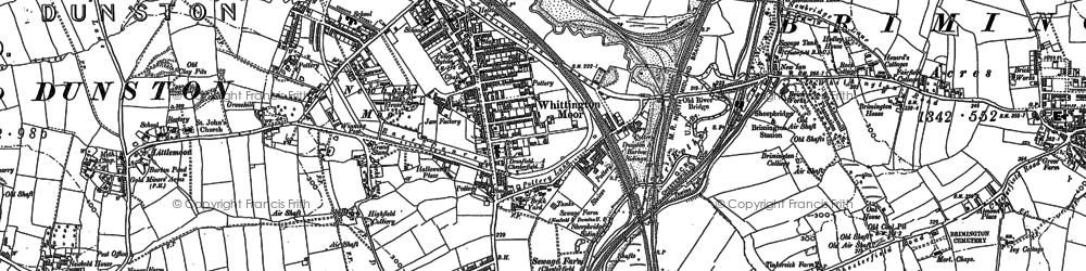 Old map of Whittington Moor in 1876
