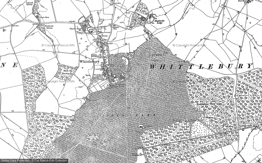 Old Map of Whittlebury, 1883 in 1883