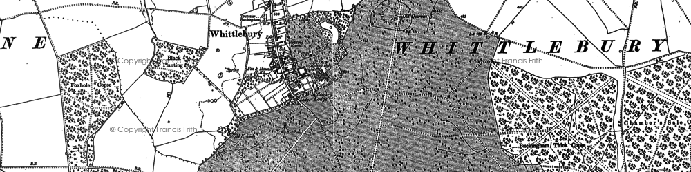 Old map of Whittlebury in 1883