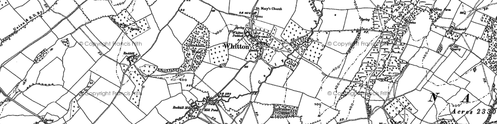 Old map of Whitton in 1883