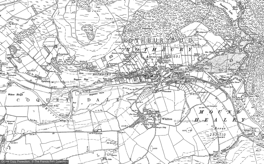 Old Map of Historic Map covering Whitton Hillhead in 1896
