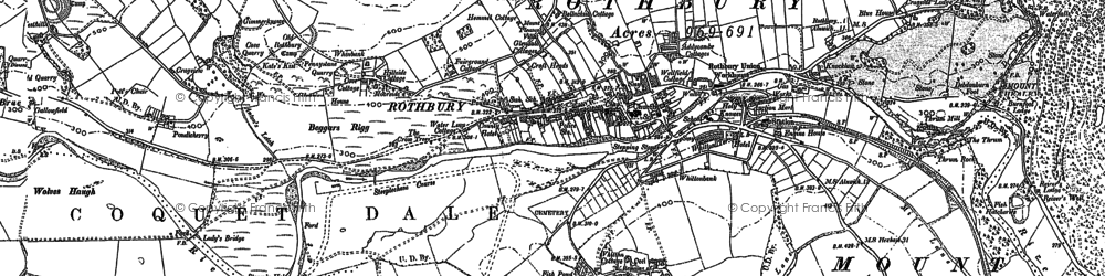 Old map of Whitton Hillhead in 1896
