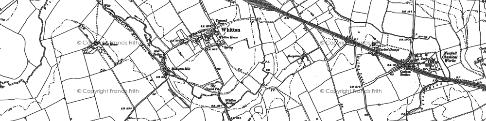 Old map of Whitton in 1914