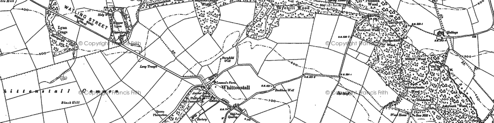 Old map of Whittonstall Sproats in 1895