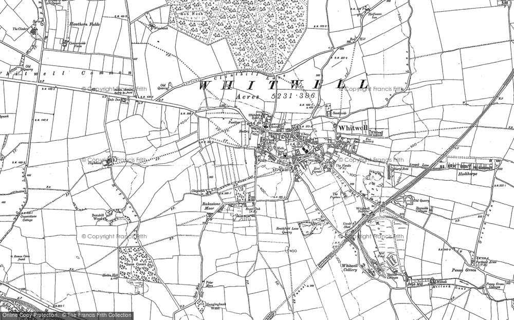 Old Map of Whitwell, 1884 - 1897 in 1884