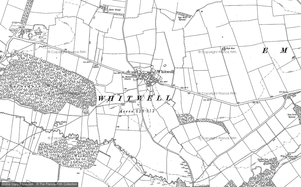 Old Map of Whitwell, 1884 - 1902 in 1884