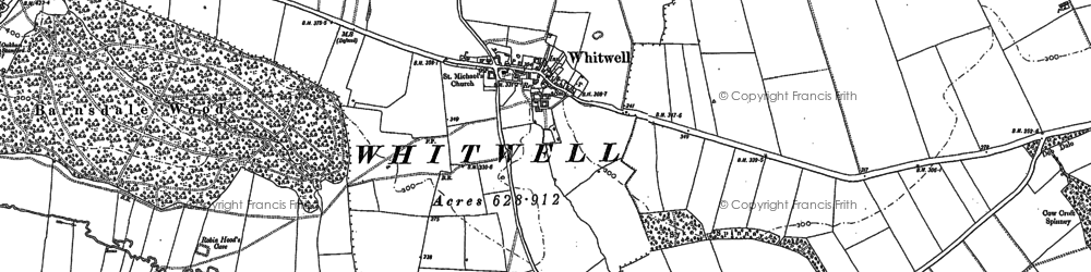 Old map of Whitwell in 1884
