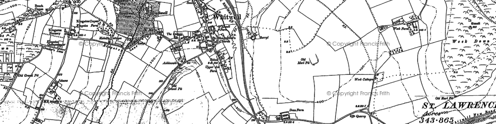 Old map of Whitwell in 1906