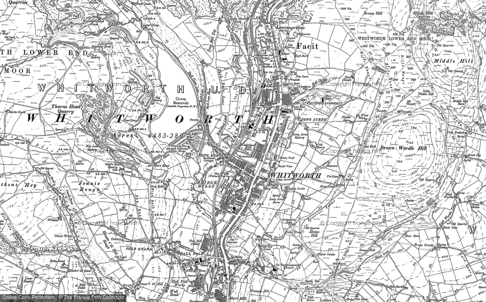 Old Map of Whitworth, 1890 - 1909 in 1890