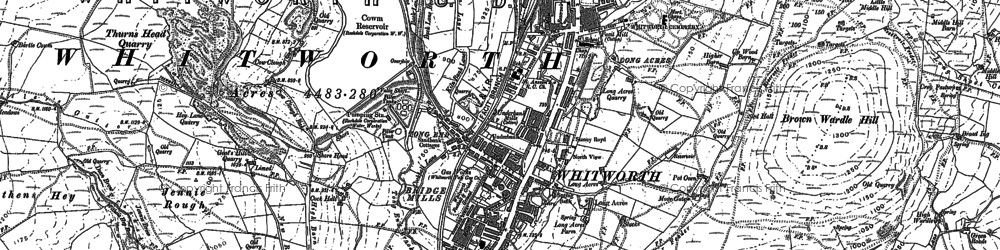 Old map of Whitworth in 1890