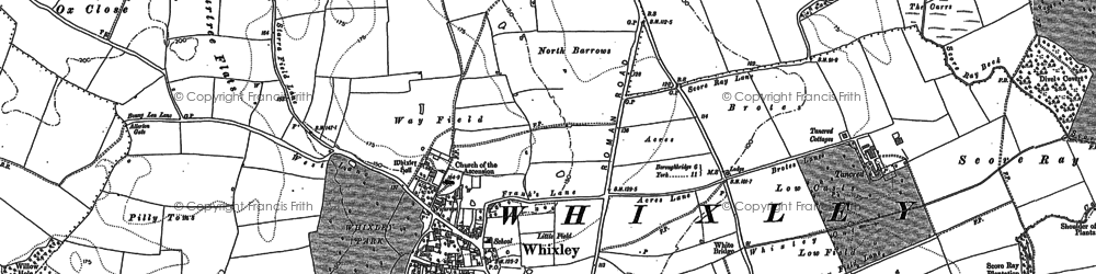 Old map of Whixley in 1892