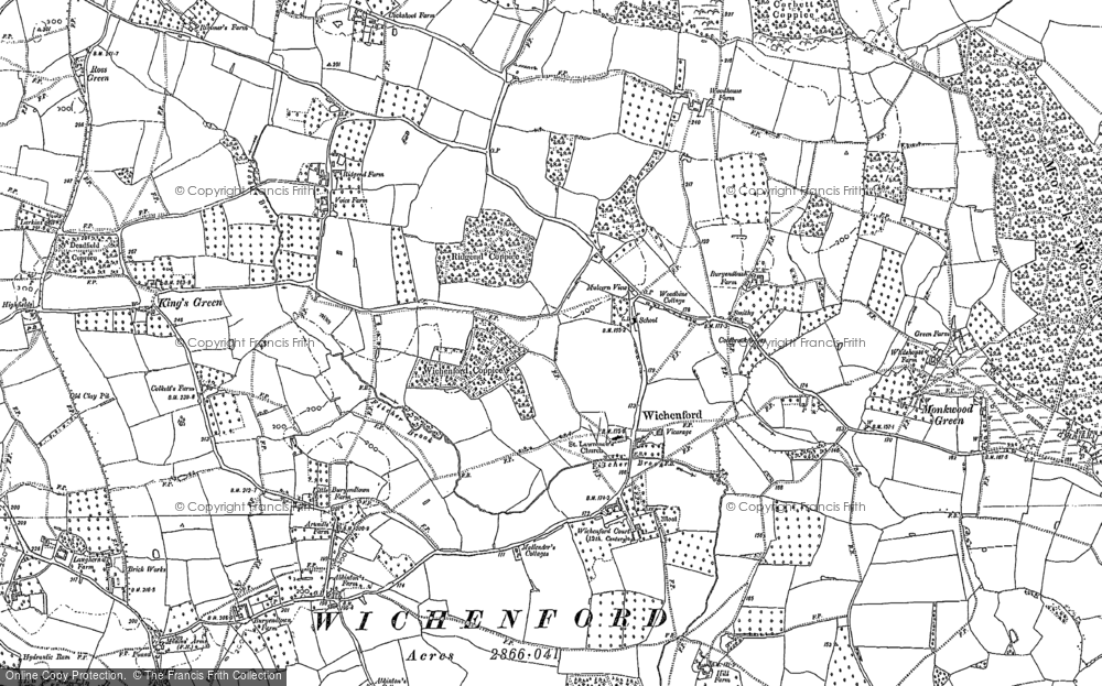 Old Map of Wichenford, 1883 - 1884 in 1883