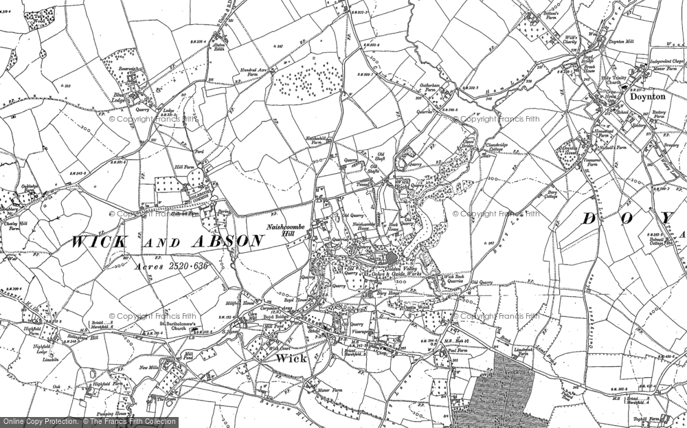 Old Map of Historic Map covering Wick Rocks in 1881