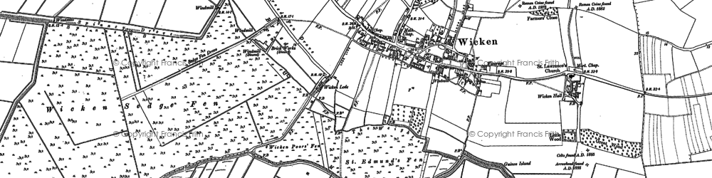 Old map of Wicken Lode in 1886