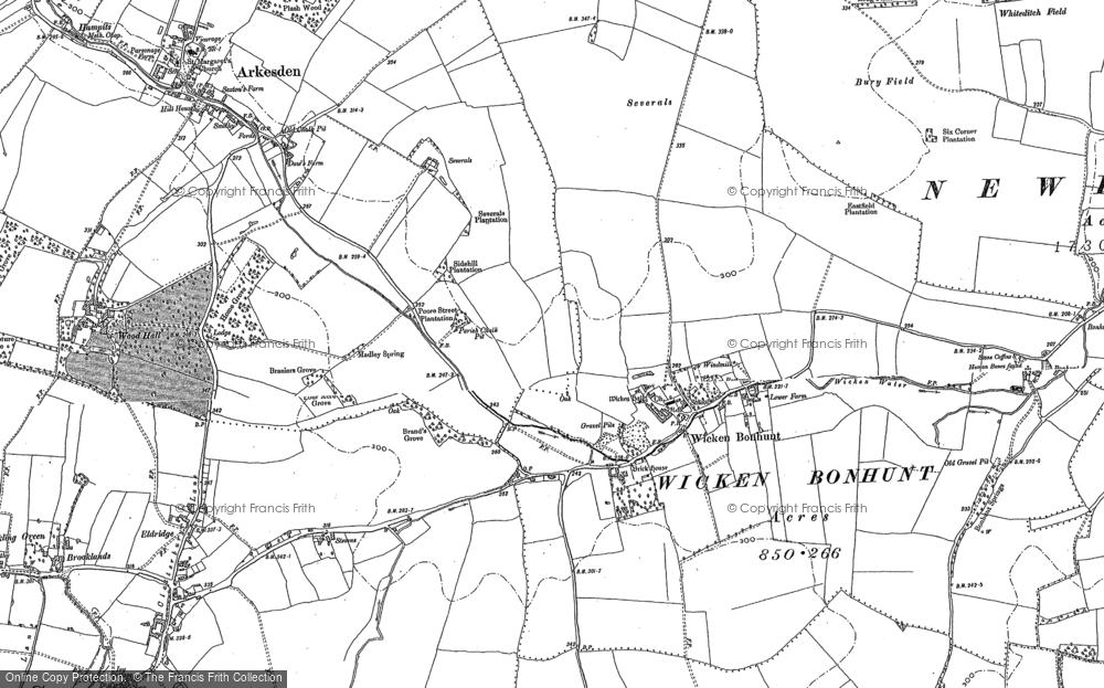 Old Map of Historic Map covering Wicken Water in 1896