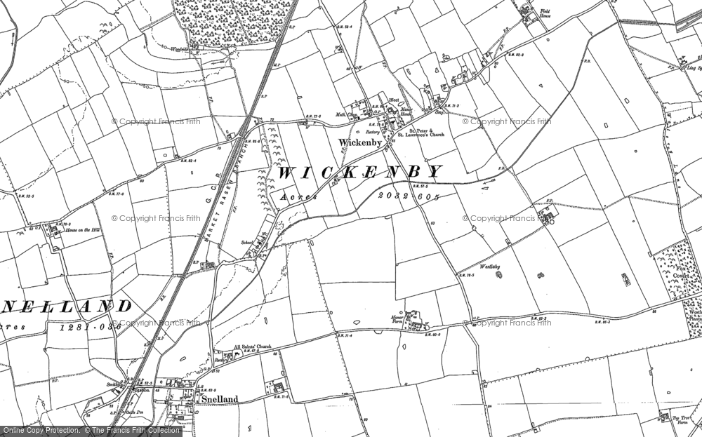 Old Map of Wickenby, 1886 in 1886