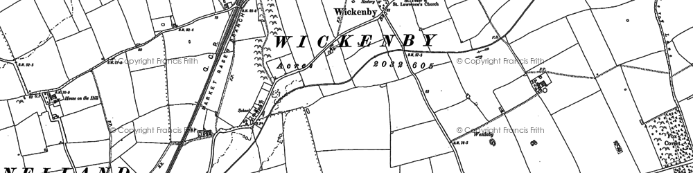 Old map of Wickenby in 1886