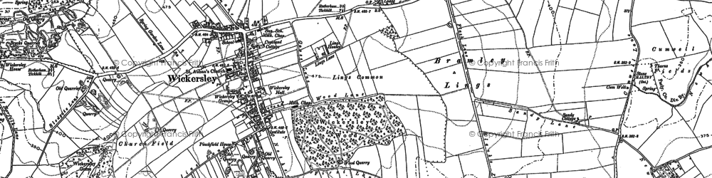 Old map of Wickersley in 1891