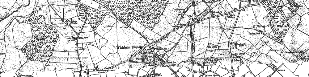 Old map of Wickham Bishops in 1895