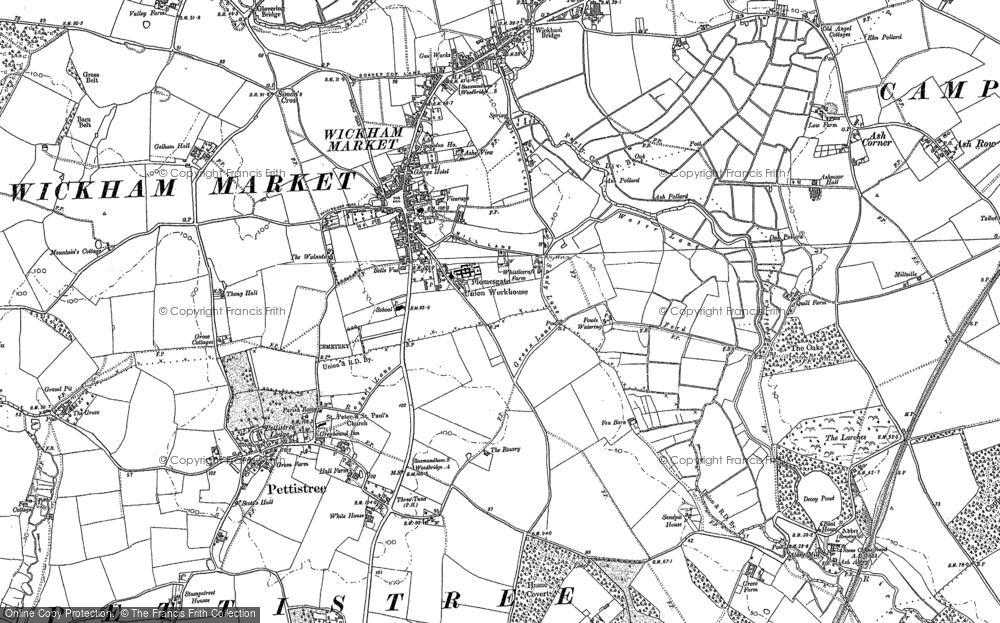 Old Map of Wickham Market, 1881 - 1883 in 1881