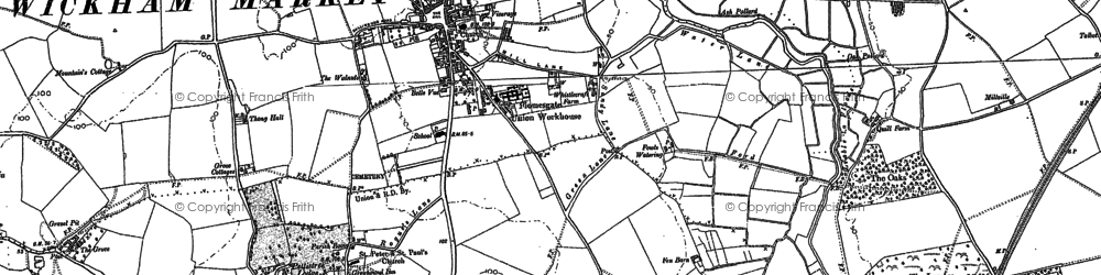 Old map of Wickham Market in 1881