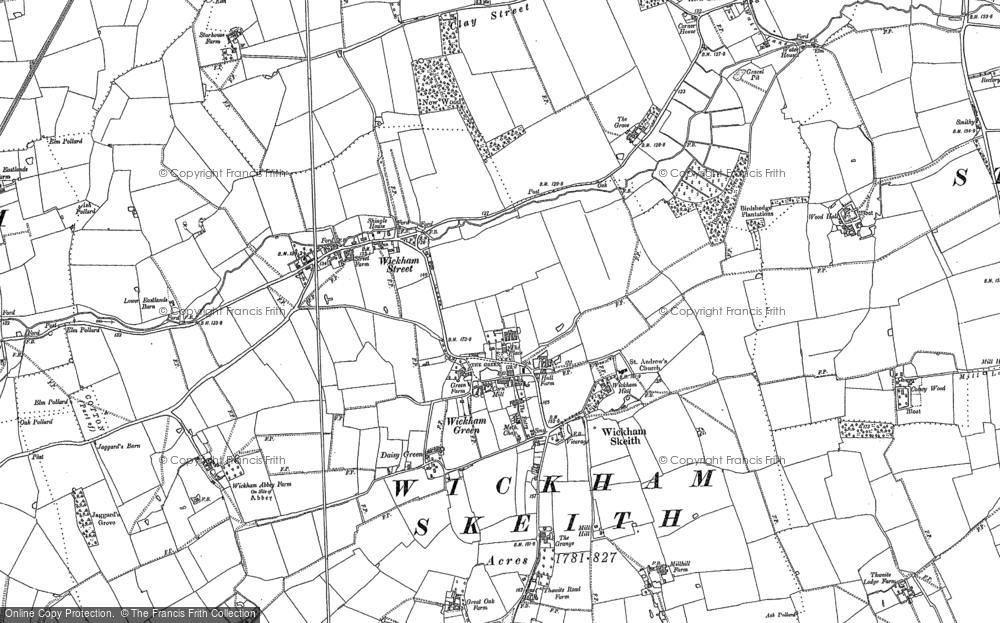 Old Map of Historic Map covering Wickham Street in 1884