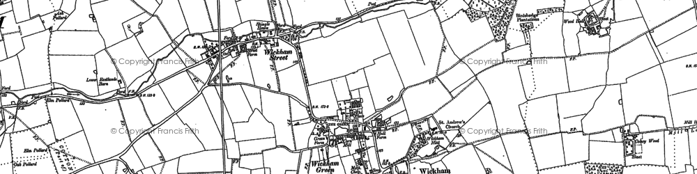 Old map of Wickham Skeith in 1884