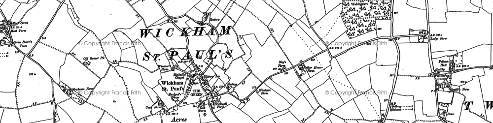 Old map of Wickham St Paul in 1896