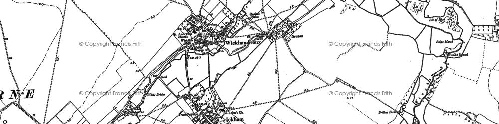 Old map of Wickhambreaux in 1896