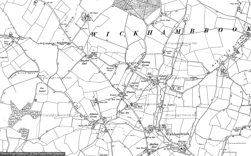 Old Map of Historic Map covering Attleton Green in 1884