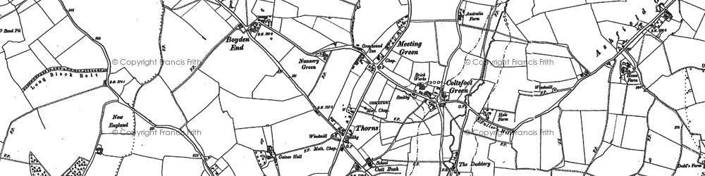 Old map of Wickhambrook in 1884