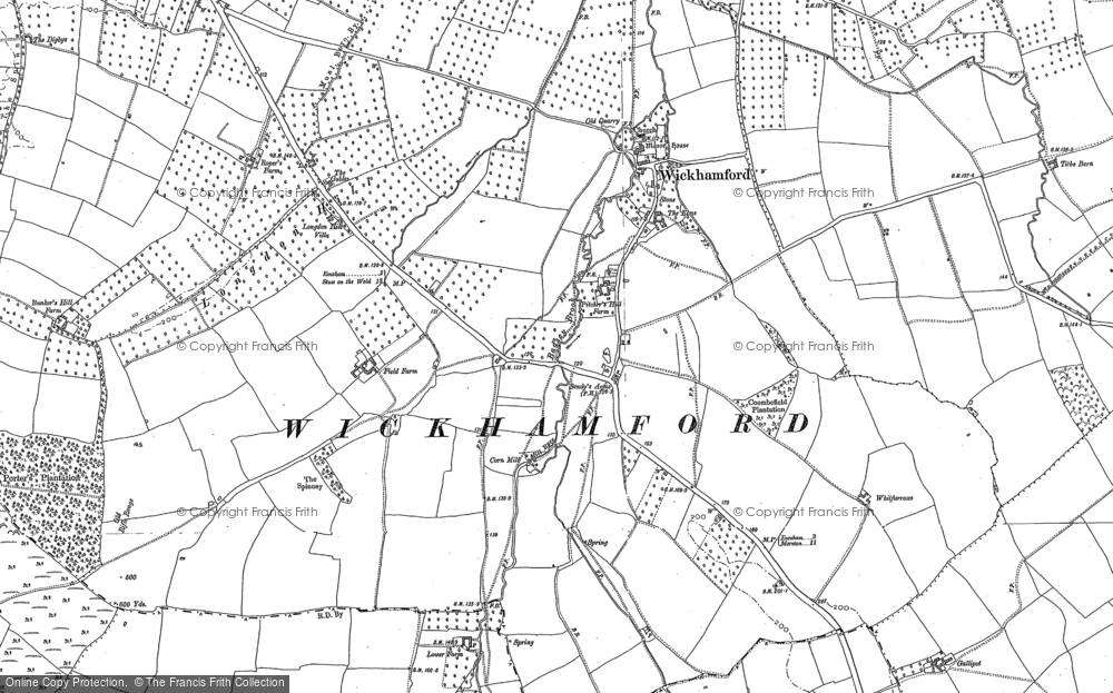 Old Map of Historic Map covering Badsey Brook in 1880