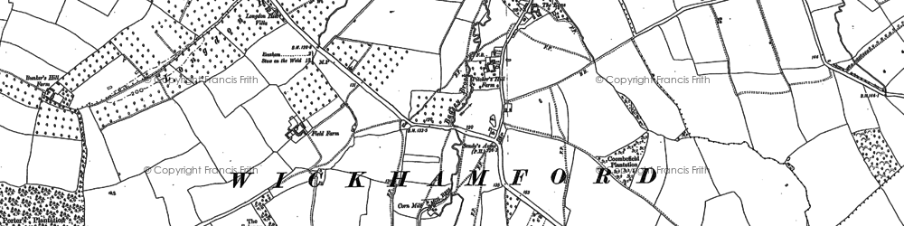 Old map of Wickhamford in 1880